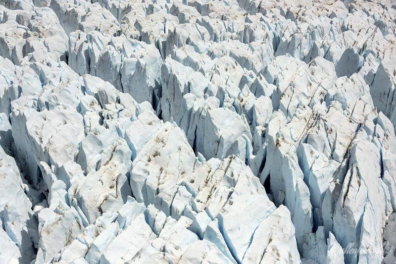 Glacial penitentes spikes, Glacier Nef, Parque National Laguna San Rafael, Aysen, Chile