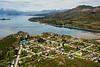 Puerto Guadal on Lago General Carrera, with Parque Nacional Laguna San Rafael on horizon, Aysen, Patagonia