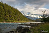 Rio Cochrane with snow-covered mountains near Green Baker Lodge, Carretera Austral, Patagonia, Chile