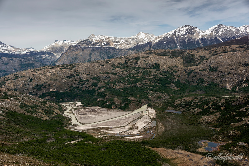 Rio Nef and Cordon Soler, aerial view, Aysen, Chile