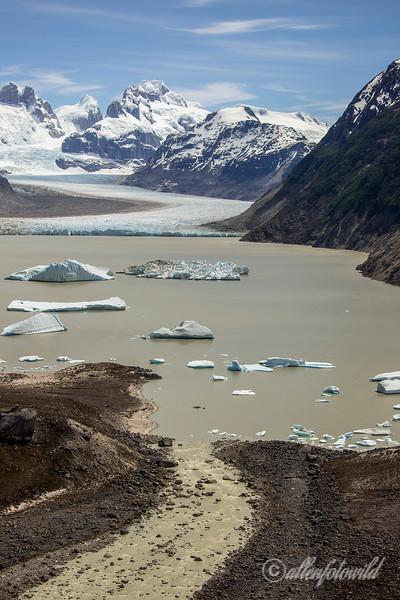 Glacier Nef with terminal moraine and Rio Nef, Aysen, Chile