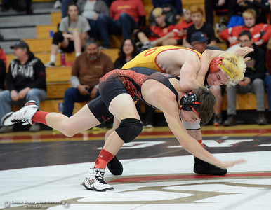 Foothill's Corey Williford, cannot elude Chico Ryan Rudkin who manages a pin in the 147-pound weight class of the Northern Section Division I finals Saturday, Feb. 18, 2017, at Chico High in Chico, California. (Dan Reidel -- Enterprise-Record)