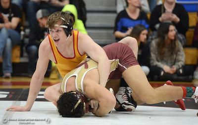 Jake Ferrell vs Alex Diaz in the Northern Section Division I finals Saturday, Feb. 18, 2017, at Chico High in Chico, California. (Dan Reidel -- Enterprise-Record)