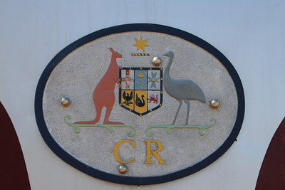 Coat of arms on old Ghan train