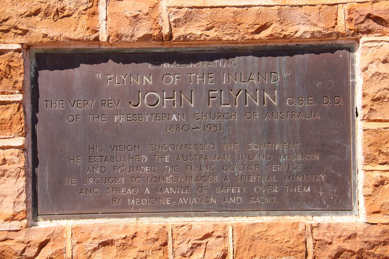 Plaque on the John Flynn memorial near the Threeways