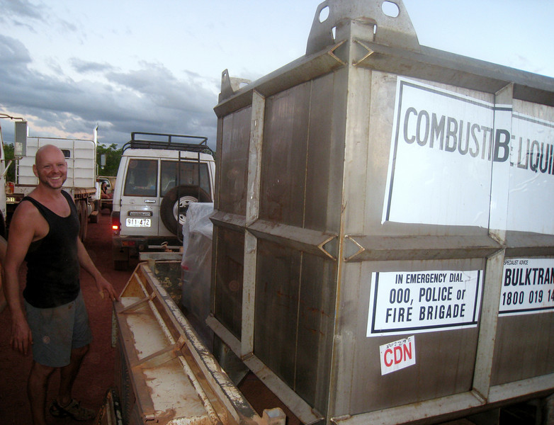 Diesel for Gawa after being unloaded from the Perkins barge at Elcho Island in May 2008