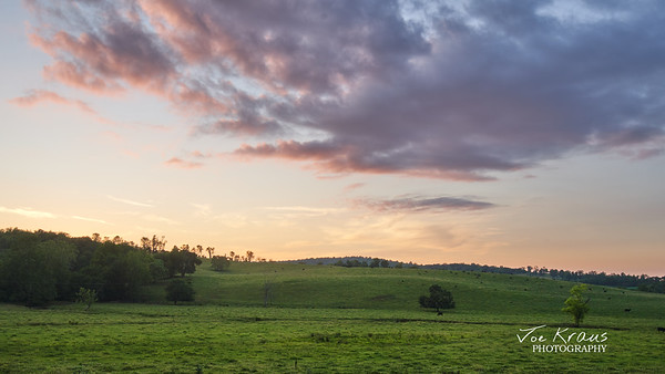 Green Hills and Red Skies - VA Farm Sunset