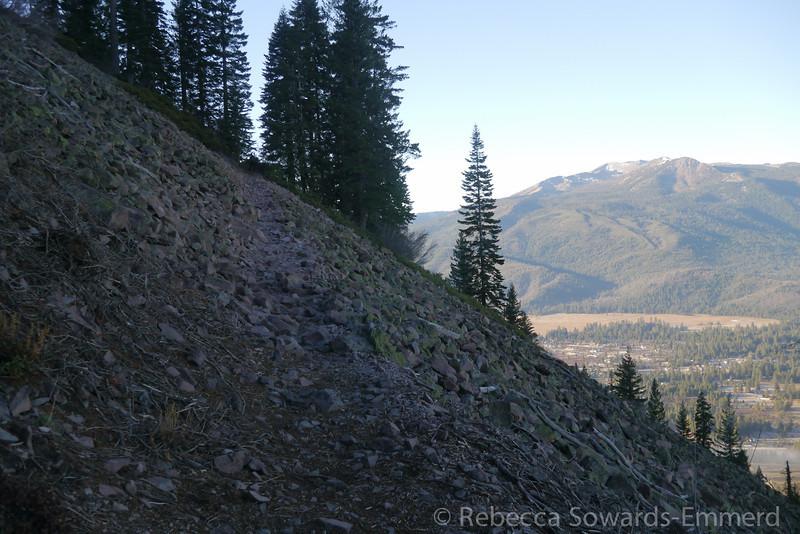 Trail through more rubble.