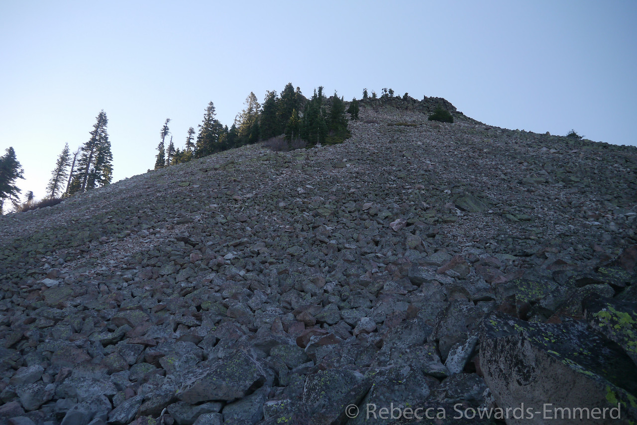 Looking up towards the summit.