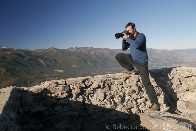David photographing from the old foundation on the summit. I don't know what was here - some kind of lookout, presumably.