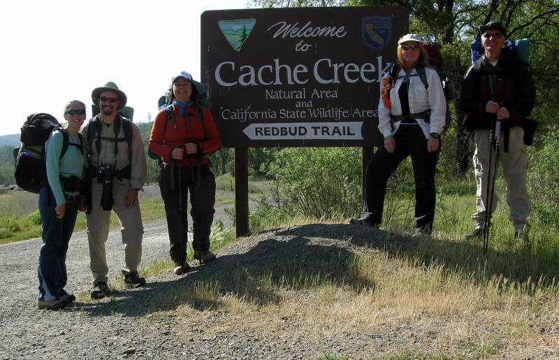 Our group is ready to hit the Redbud Trail at Cache Creek