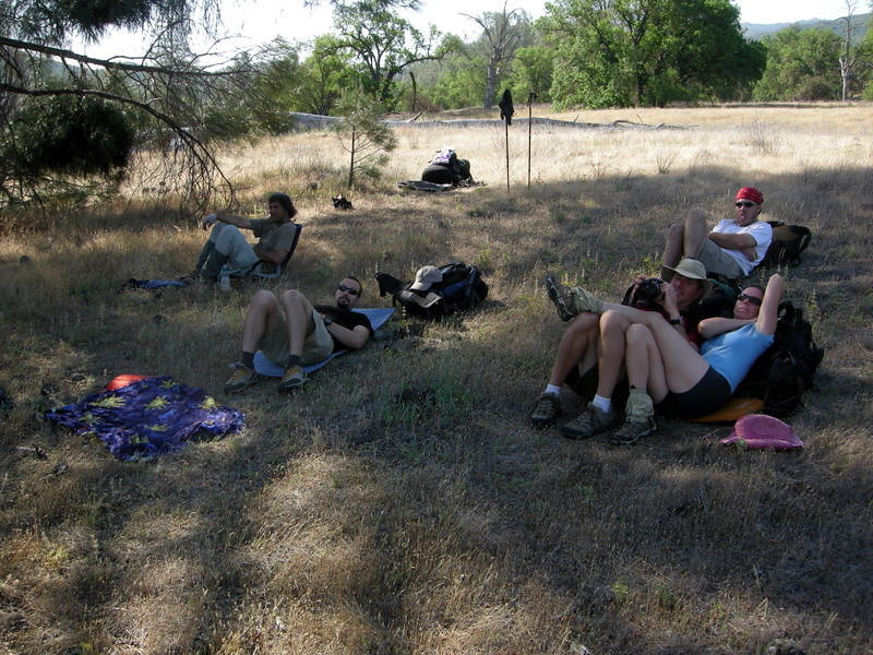 See? We haven't even hit the trail yet and we're lounging around in the shade.