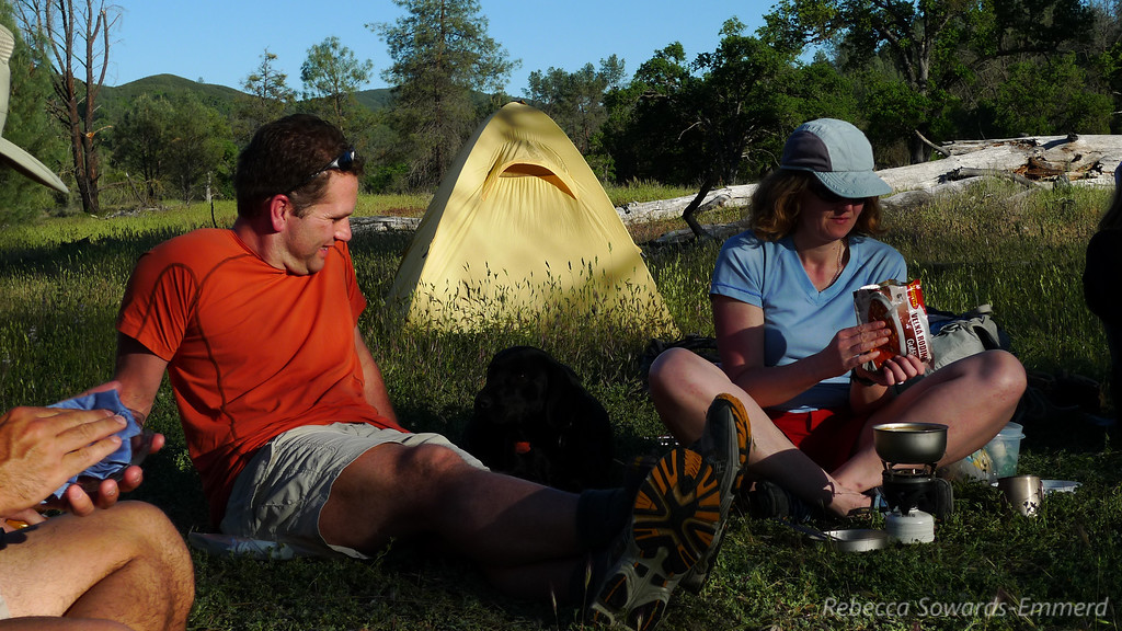 Rob, his sweet dog Molly, and Pavla in camp.