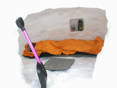 Integral Designs bivy in snowcave