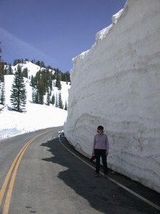 Snowbanks on Lassen Park road.
