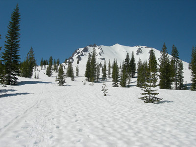 Lassen Peak in the distance as we climb toward camp.