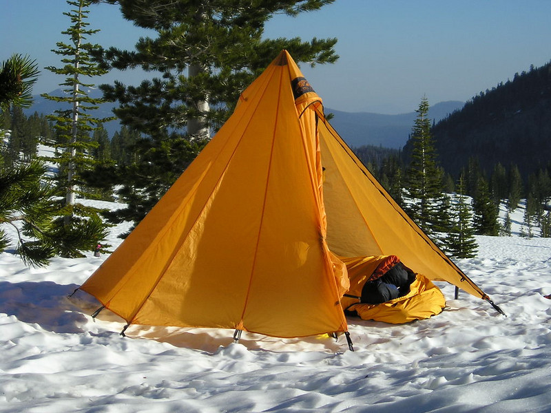 My morning view<br /> <br /> I was sleeping out on the snow in my bivy and woke to snores coming from David in the Hex 2