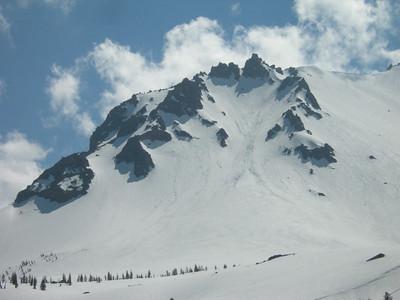 Slough of slushy snow on the peak