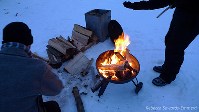 We camped at the park entrance. Can't find the firepit under the snow, so we brought our own.