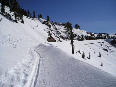 Trail and snow drifts