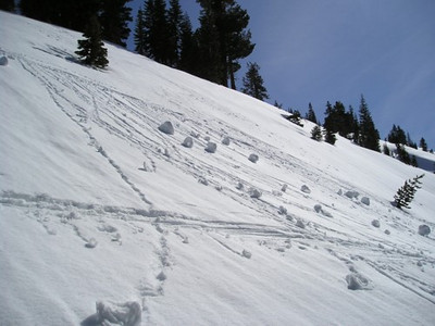 Steep section with snow spirals