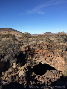 Another above ground shot showing the opening to a cave. The long lava tubes have collapsed sections, allowing access to the caves.