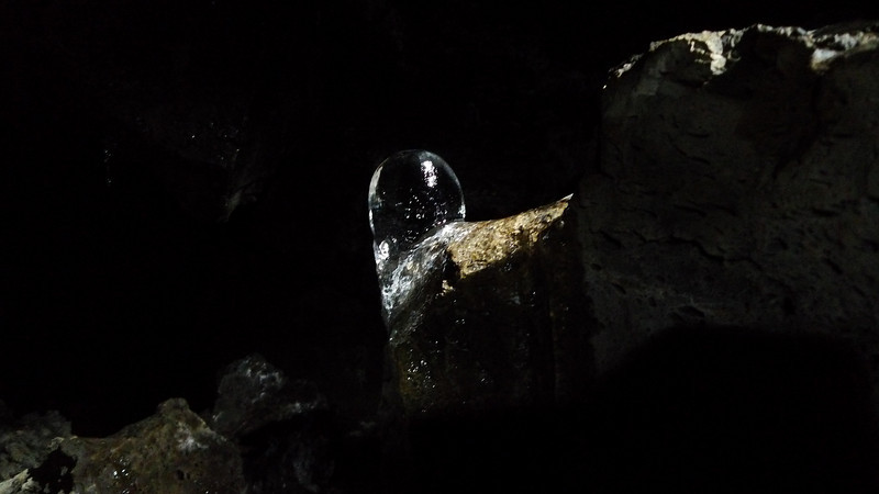 Ice formation in the cave