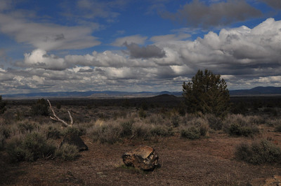 We arrived on Friday afternoon and set up camp in the clearing rain. View is northeast towards tulelake, ca.