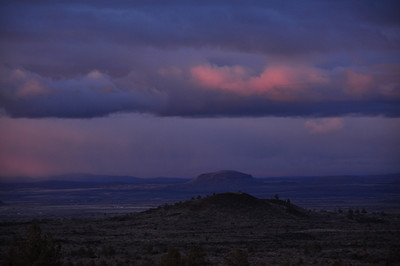 Sunset over the volcanic buttes