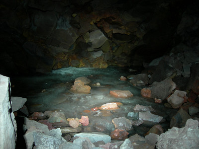Big Painted Cave has a small crawl hole in the back that leads to an ice floor.