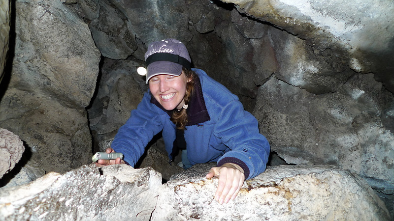 Helen (she closes her eyes just like David) climbing out of a lower chamber in a wild cave. This one was really awesome. It was kind of boring until crawling into this lower, huge chamber.