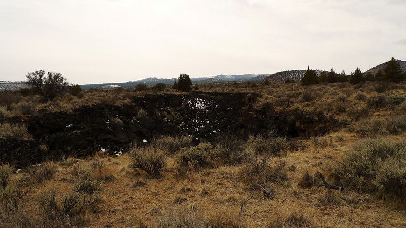One of the many lava trenches (tube collapses) throughout the park.