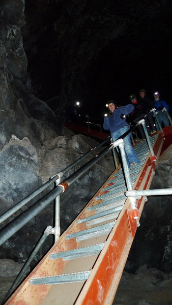 Down the stairs to the ice floor of skull cave.