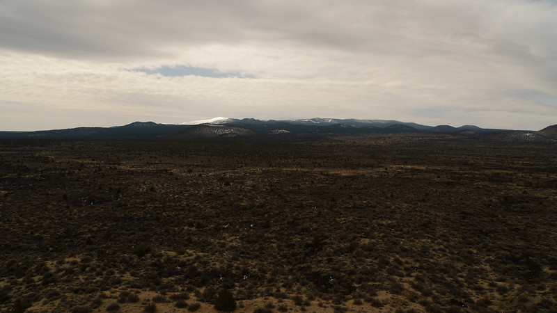 View south towards Glass Mountain. Snowy! We drove up there the next morning in search of obsidian.
