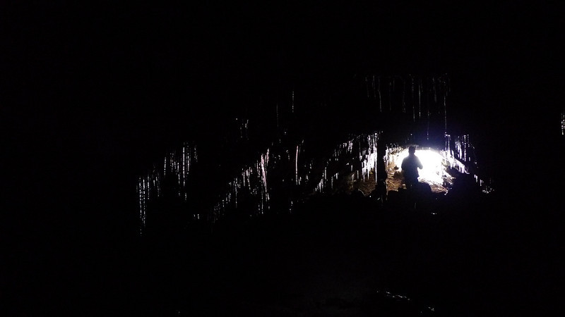 Entrance Light reflecting through the ice (no flash)