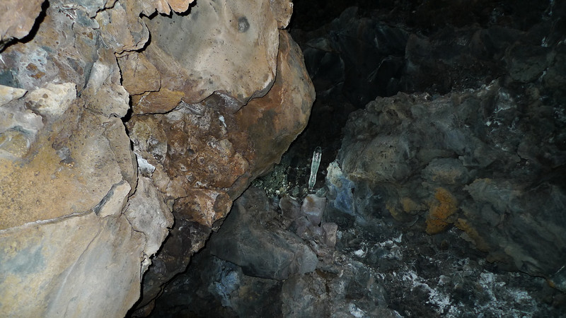 Ice formation in the cave. There are usually a lot more but most were toppled. It wasn't due to vandalism - as you can see with this one it's melting through at the bottom. Most had narrow points where they'd melted through and snapped off. Must be the warm winter this year.
