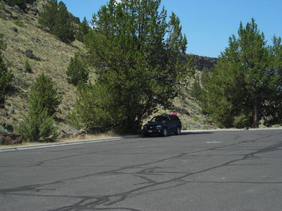 Our car in the shade - it was HOT!