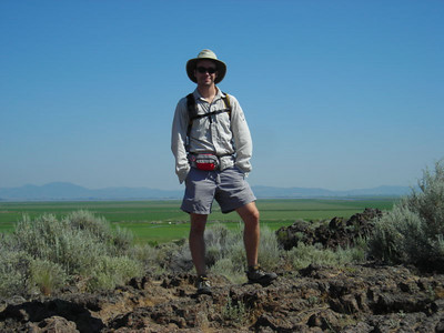 David at Captain Jack's, with farm land (former TuleLake) in background.