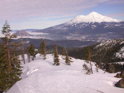 Mt Shasta, and Black Butte surrounded by fog.