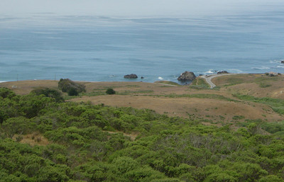 View of Highway 1 as we come down to the coast