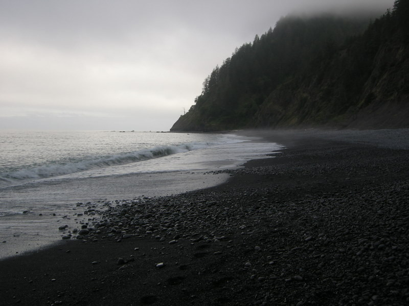 Day 4 started foggy and cool<br /> <br /> Today's hike is six miles to the Black Sands beach trailhead, all beach walking (tiring)