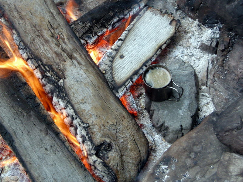Cooking cider on the fire