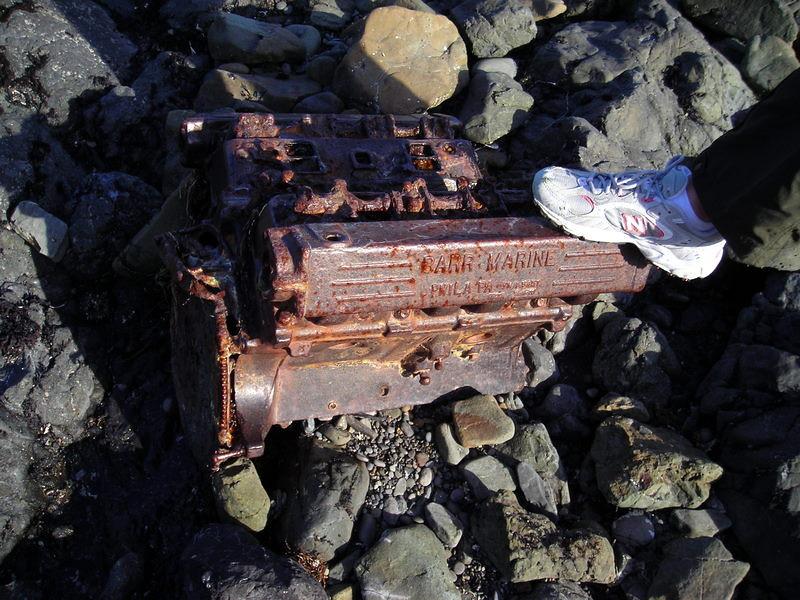 Beach debris - an old motor?<br /> <br /> It says 'BARR MARINE PHILA PA'