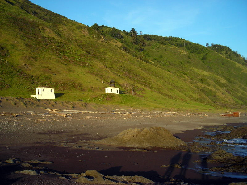The oil house, the light house, and what appeared to be a shipwrecked crow's nest on the beach