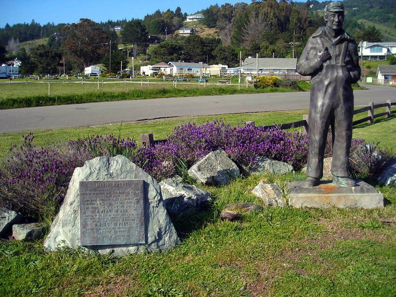On Friday afternoon I met 'the girls' at Shelter Cove where we camped before the long shuttle to Mattole on Saturday morning.<br /> <br /> Statue of Mario Machi, the founder of Shelter Cove
