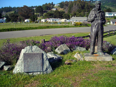 On Friday afternoon I met 'the girls' at Shelter Cove where we camped before the long shuttle to Mattole on Saturday morning.  Statue of Mario Machi, the founder of Shelter Cove