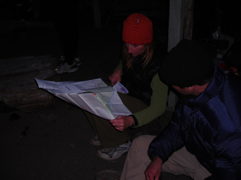 Theresa and Peter check tomorrow's route<br /> <br /> The group is continuing down the coast back to Black Sands Beach - I'm heading back out to Mattole in the morning. :(