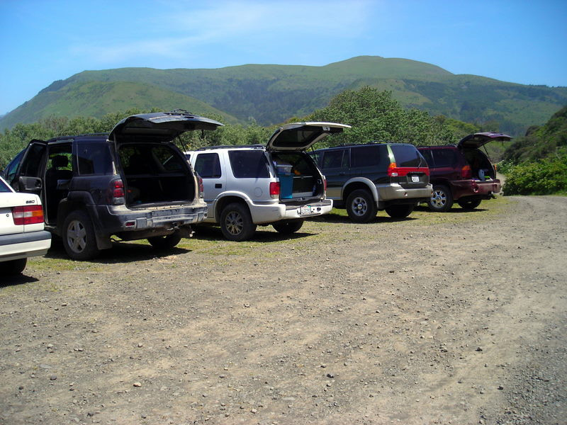 Trucks lined up at Mattole<br /> <br /> Karen and I helped shuttle everyone since she was just there for the day and I was only going in for one night and back out the next morning