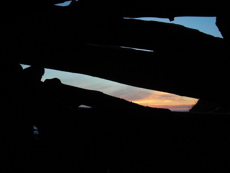 Sunset from inside the shelter