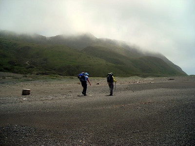 Backpackers and fog